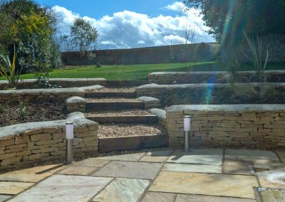 Sandstone and cotswold stone walling