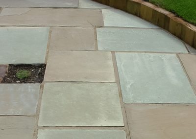 Indian Sandstone raj green with planting pockets