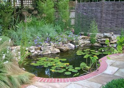 Ponds with Natural Planting and Brick Edge